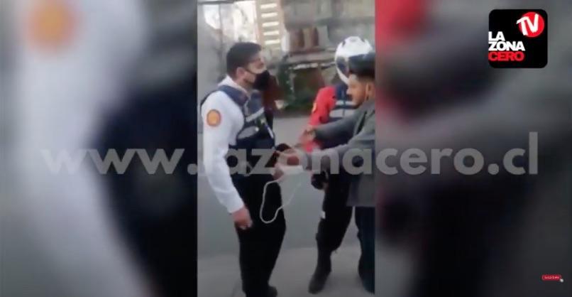 Guardia Las Condes insulta a repartidor