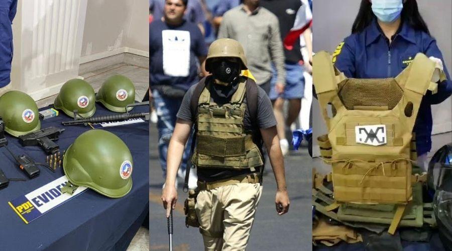 Armas, chalecos y cascos incautaron a extremistas de Vanguardia